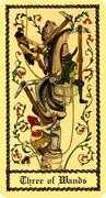 Three of Wands Tarot card in Medieval Scapini deck