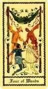 Four of Wands Tarot card in Medieval Scapini Tarot deck