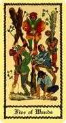 Five of Wands Tarot card in Medieval Scapini deck
