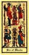 Six of Wands Tarot card in Medieval Scapini Tarot deck