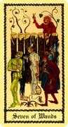 Seven of Wands Tarot card in Medieval Scapini Tarot deck