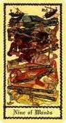 Nine of Wands Tarot card in Medieval Scapini Tarot deck