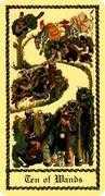 Ten of Wands Tarot card in Medieval Scapini deck