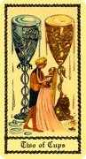 Two of Cups Tarot card in Medieval Scapini Tarot deck