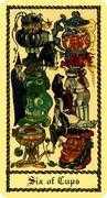 Six of Cups Tarot card in Medieval Scapini Tarot deck