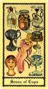 Seven of Cups Tarot card in Medieval Scapini deck