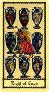 Eight of Cups Tarot card in Medieval Scapini Tarot deck