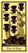 Nine of Cups Tarot card in Medieval Scapini deck