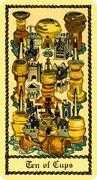 Ten of Cups Tarot card in Medieval Scapini Tarot deck