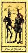 Two of Swords Tarot card in Medieval Scapini deck