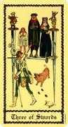 Three of Swords Tarot card in Medieval Scapini Tarot deck