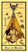 Four of Swords Tarot card in Medieval Scapini Tarot deck