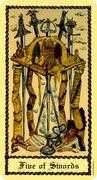Five of Swords Tarot card in Medieval Scapini Tarot deck