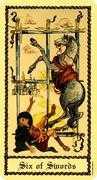 Six of Swords Tarot card in Medieval Scapini Tarot deck