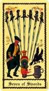 Seven of Swords Tarot card in Medieval Scapini Tarot deck