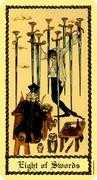 Eight of Swords Tarot card in Medieval Scapini deck