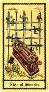 Nine of Swords Tarot card in Medieval Scapini Tarot deck