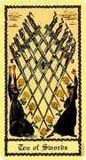 Ten of Swords Tarot card in Medieval Scapini Tarot deck