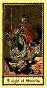Knight of Swords Tarot card in Medieval Scapini Tarot deck
