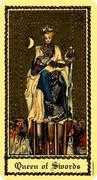 Queen of Swords Tarot card in Medieval Scapini Tarot deck