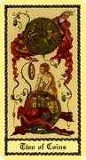 Two of Coins Tarot card in Medieval Scapini Tarot deck