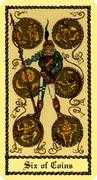 Six of Coins Tarot card in Medieval Scapini Tarot deck