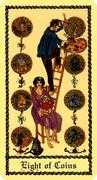 Eight of Coins Tarot card in Medieval Scapini Tarot deck