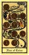 Nine of Coins Tarot card in Medieval Scapini Tarot deck