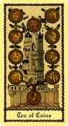 Ten of Coins Tarot card in Medieval Scapini deck