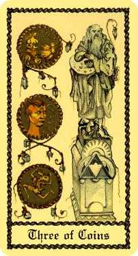 Three of Coins Tarot Card - Medieval Scapini Tarot Deck