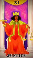 Justice Tarot card in Melanated Classic Tarot deck