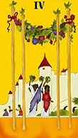 Four of Wands Tarot card in Melanated Classic Tarot Tarot deck