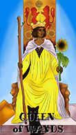 Queen of Wands Tarot card in Melanated Classic Tarot deck