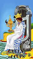 Queen of Cups Tarot card in Melanated Classic Tarot deck