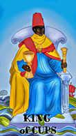 King of Cups Tarot card in Melanated Classic Tarot deck