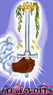 Ace of Swords Tarot card in Melanated Classic Tarot deck