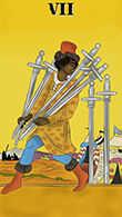 Seven of Swords Tarot card in Melanated Classic Tarot Tarot deck