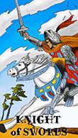 Knight of Swords Tarot card in Melanated Classic Tarot Tarot deck