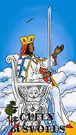 Queen of Swords Tarot card in Melanated Classic Tarot Tarot deck