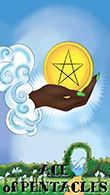 Ace of Coins Tarot card in Melanated Classic Tarot deck