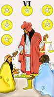 Six of Coins Tarot card in Melanated Classic Tarot Tarot deck