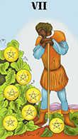 Seven of Coins Tarot card in Melanated Classic Tarot deck