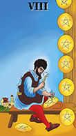 Eight of Coins Tarot card in Melanated Classic Tarot Tarot deck