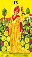 Nine of Coins Tarot card in Melanated Classic Tarot deck
