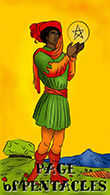 Page of Coins Tarot card in Melanated Classic Tarot deck