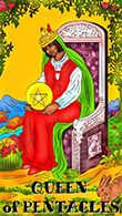 Queen of Coins Tarot card in Melanated Classic Tarot Tarot deck