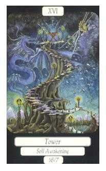 The Falling Tower Tarot Card - Merry Day Tarot Deck