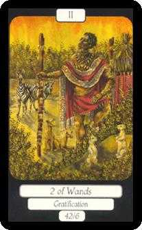 Two of Batons Tarot Card - Merry Day Tarot Deck