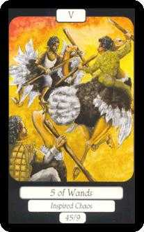 Five of Batons Tarot Card - Merry Day Tarot Deck