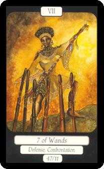 Seven of Rods Tarot Card - Merry Day Tarot Deck